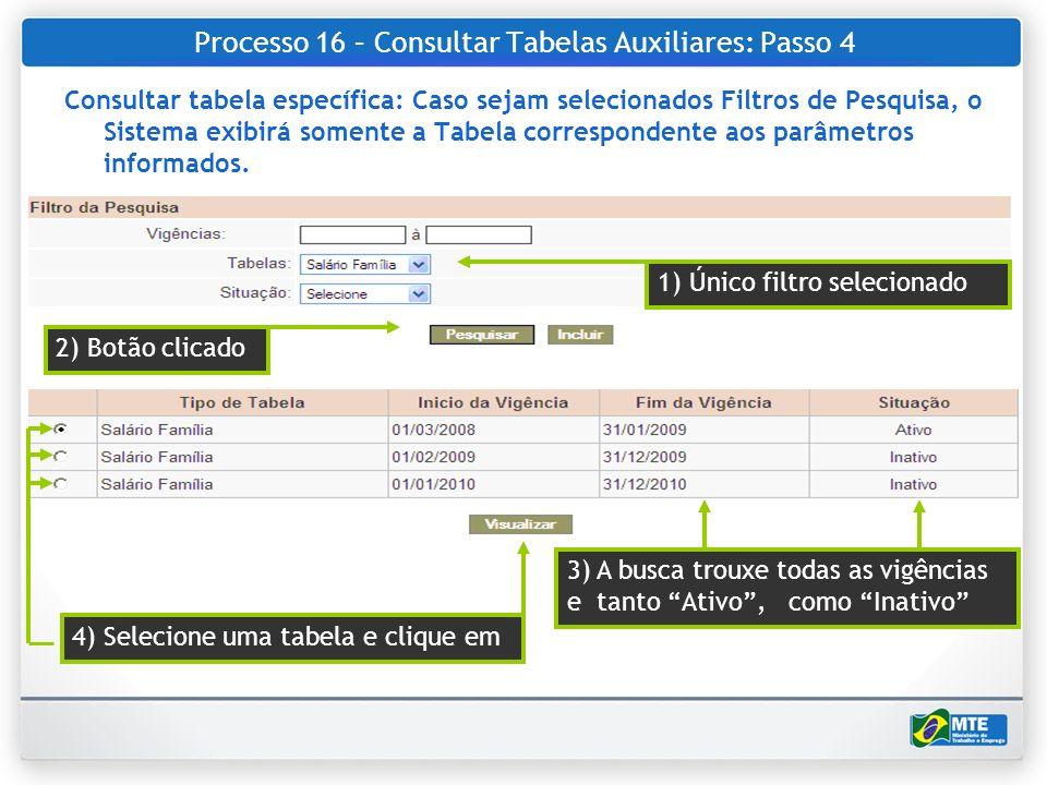 Processo 16 – Consultar Tabelas Auxiliares: Passo 4 Consultar tabela específica: Caso sejam selecionados Filtros de Pesquisa, o Sistema exibirá soment