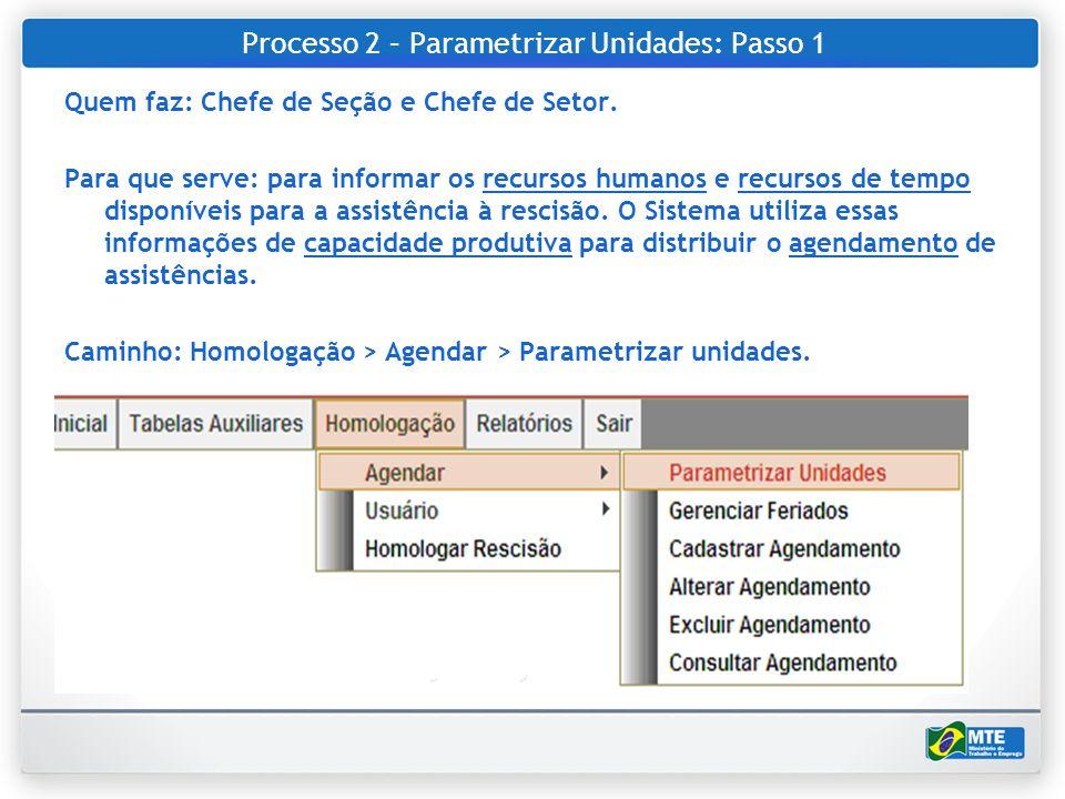 Processo 2 – Parametrizar Unidades: Passo 1 Quem faz: Chefe de Seção e Chefe de Setor. Para que serve: para informar os recursos humanos e recursos de