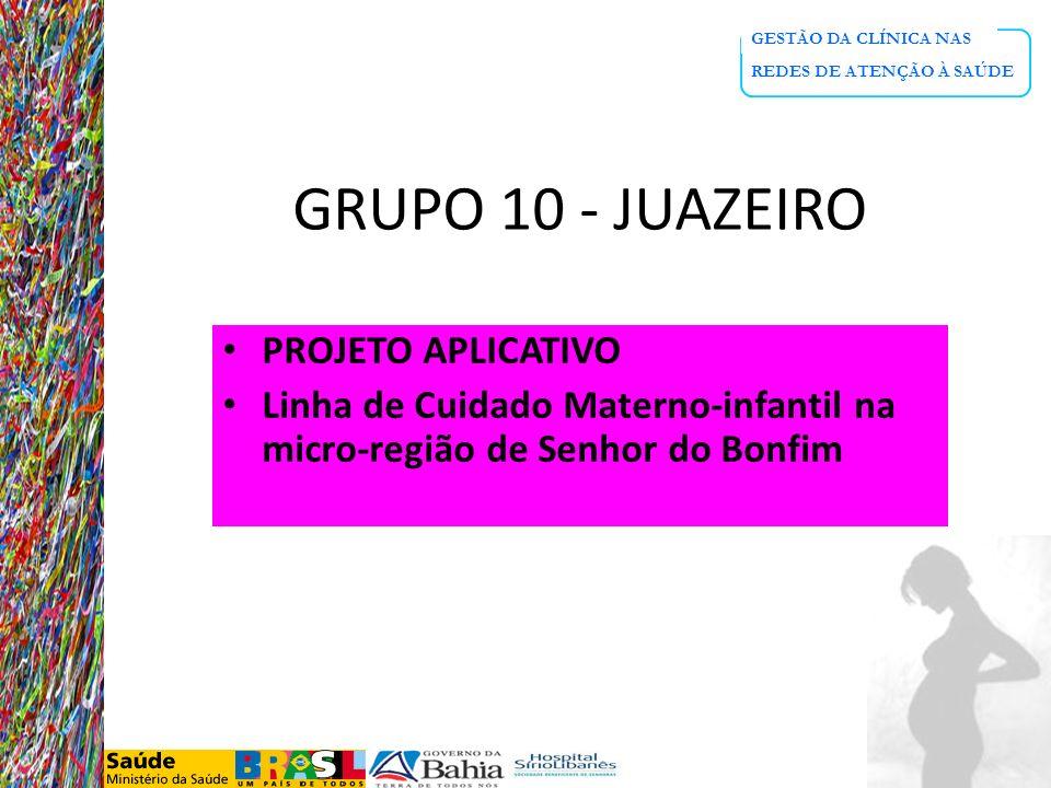 GESTÃO DA CLÍNICA NAS REDES DE ATENÇÃO À SAÚDE GRUPO 10 - JUAZEIRO PROJETO APLICATIVO Linha de Cuidado Materno-infantil na micro-região de Senhor do B