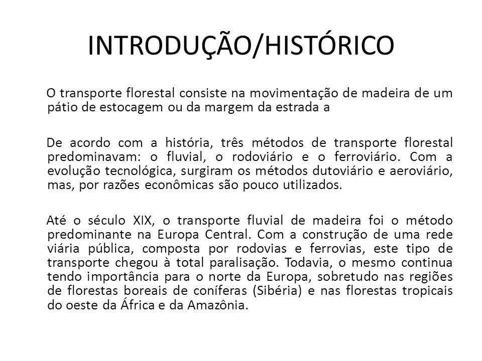 INTRODUÇÃO/HISTÓRICO O transporte florestal consiste na movimentação de madeira de um pátio de estocagem ou da margem da estrada a De acordo com a his