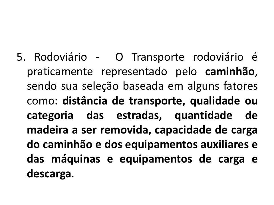 5. Rodoviário - O Transporte rodoviário é praticamente representado pelo caminhão, sendo sua seleção baseada em alguns fatores como: distância de tran