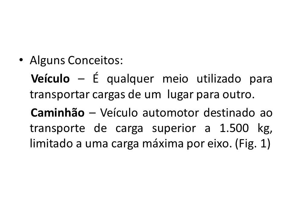 Alguns Conceitos: Veículo – É qualquer meio utilizado para transportar cargas de um lugar para outro. Caminhão – Veículo automotor destinado ao transp