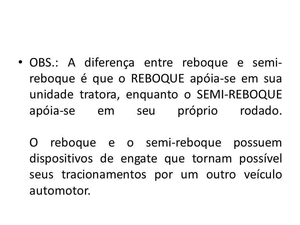 OBS.: A diferença entre reboque e semi- reboque é que o REBOQUE apóia-se em sua unidade tratora, enquanto o SEMI-REBOQUE apóia-se em seu próprio rodad
