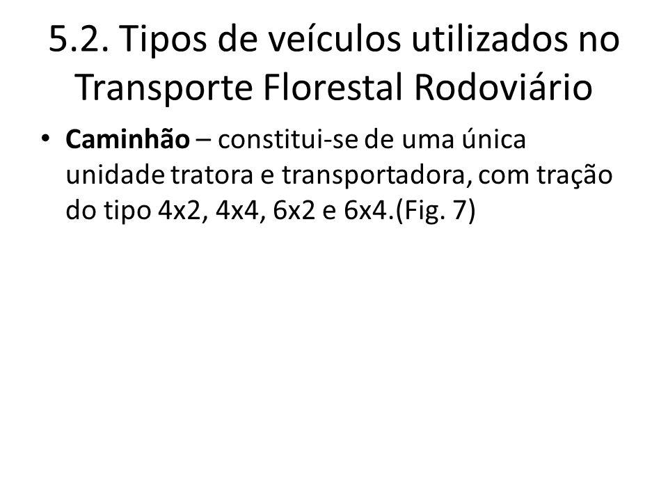 5.2. Tipos de veículos utilizados no Transporte Florestal Rodoviário Caminhão – constitui-se de uma única unidade tratora e transportadora, com tração