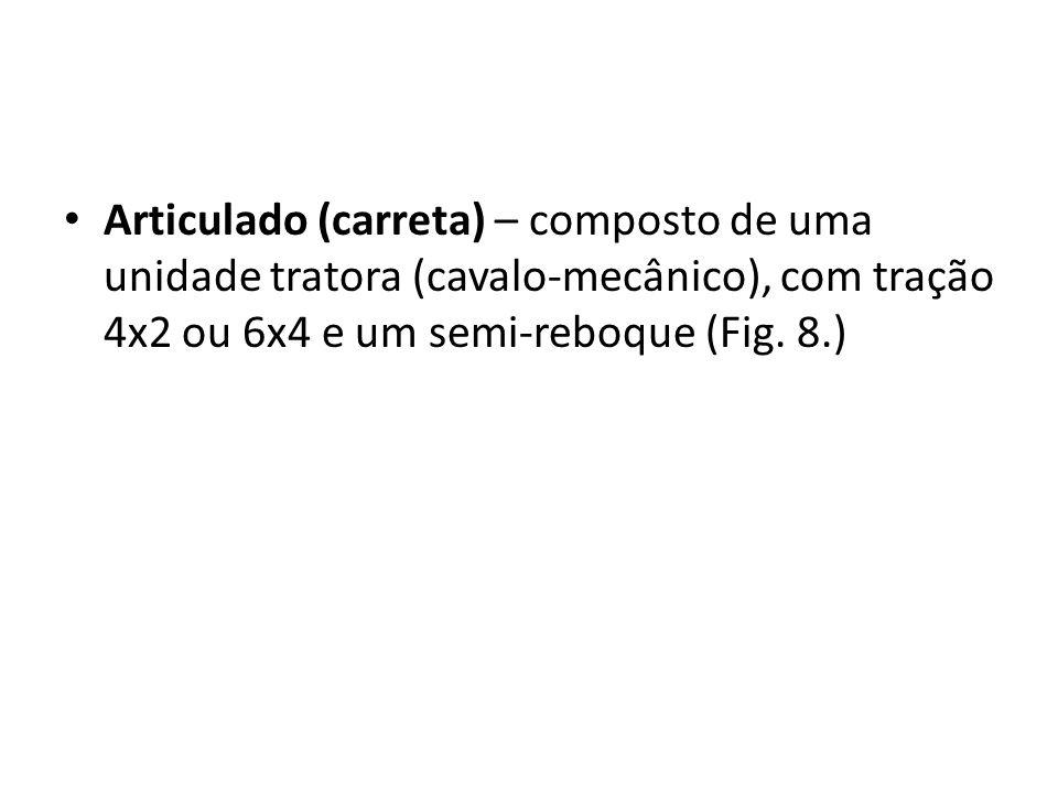 Articulado (carreta) – composto de uma unidade tratora (cavalo-mecânico), com tração 4x2 ou 6x4 e um semi-reboque (Fig. 8.)