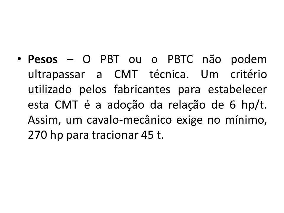 Pesos – O PBT ou o PBTC não podem ultrapassar a CMT técnica. Um critério utilizado pelos fabricantes para estabelecer esta CMT é a adoção da relação d