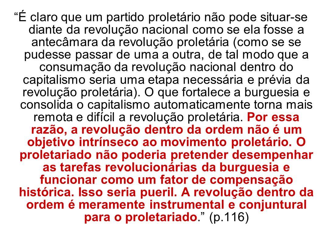 É claro que um partido proletário não pode situar-se diante da revolução nacional como se ela fosse a antecâmara da revolução proletária (como se se p