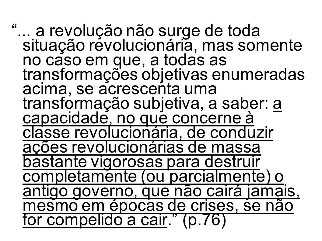 ... a revolução não surge de toda situação revolucionária, mas somente no caso em que, a todas as transformações objetivas enumeradas acima, se acresc