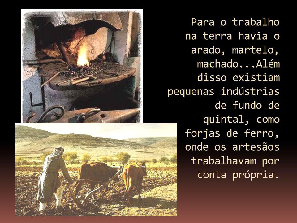Para o trabalho na terra havia o arado, martelo, machado...Além disso existiam pequenas indústrias de fundo de quintal, como forjas de ferro, onde os