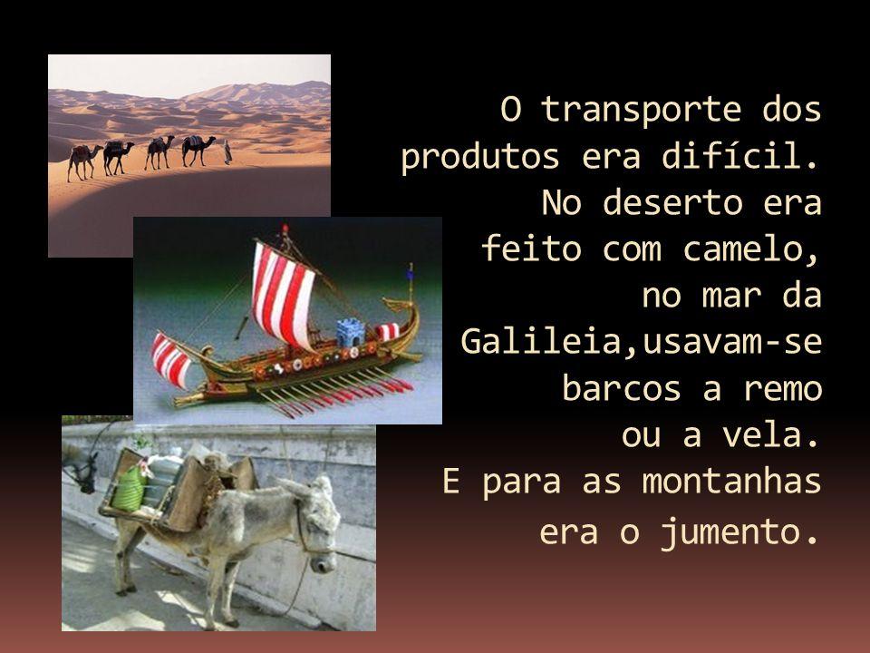 O transporte dos produtos era difícil. No deserto era feito com camelo, no mar da Galileia,usavam-se barcos a remo ou a vela. E para as montanhas era