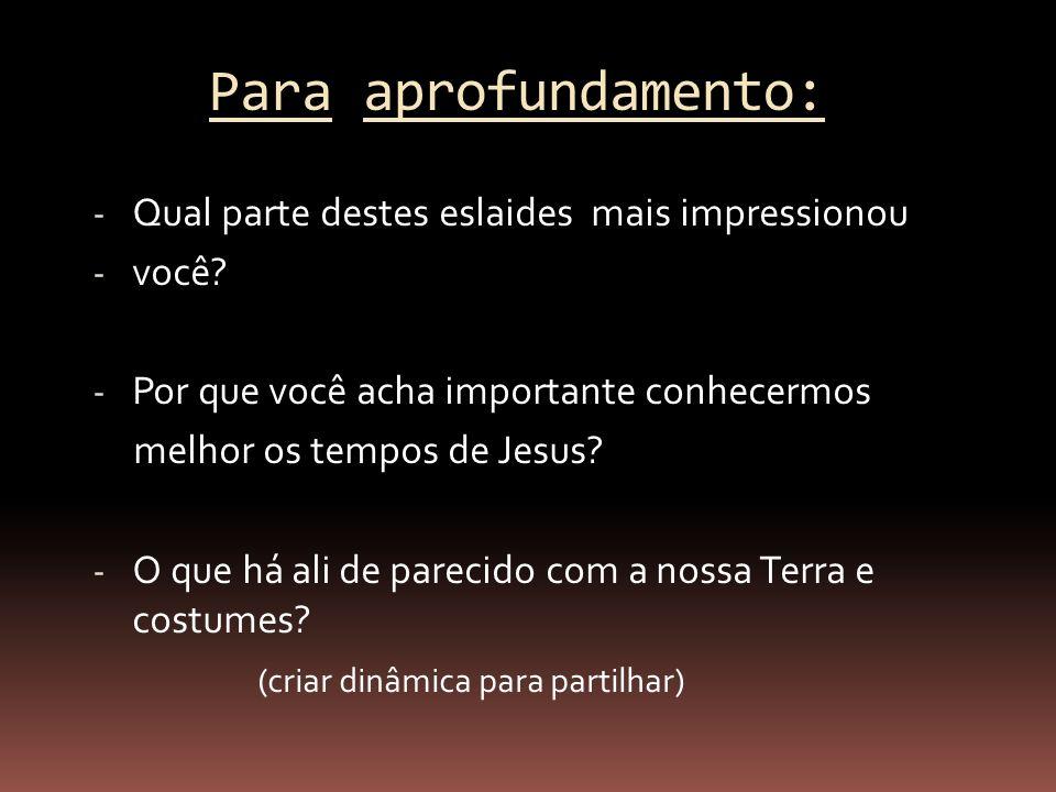 Para aprofundamento: - Qual parte destes eslaides mais impressionou - você? - Por que você acha importante conhecermos melhor os tempos de Jesus? - O