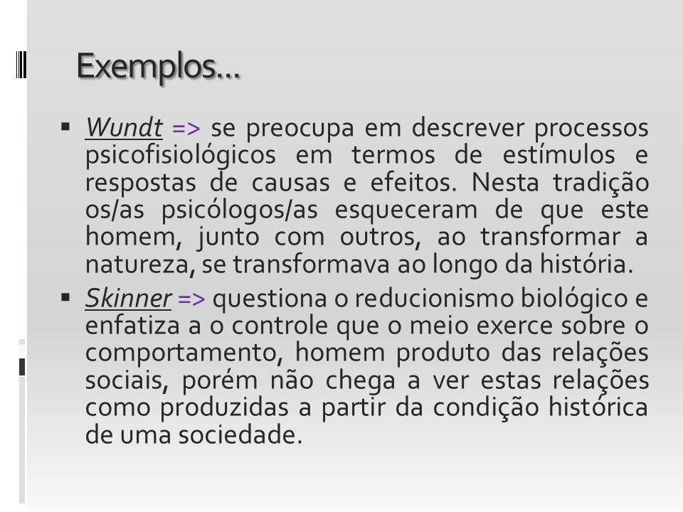 Exemplos... Wundt => se preocupa em descrever processos psicofisiológicos em termos de estímulos e respostas de causas e efeitos. Nesta tradição os/as