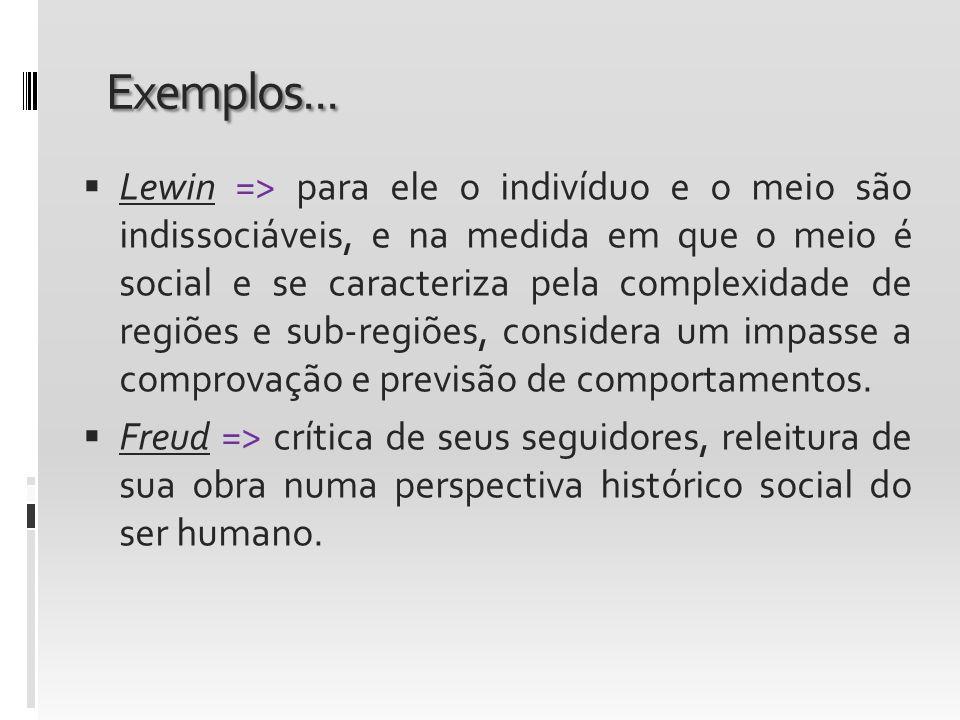 Exemplos... Lewin => para ele o indivíduo e o meio são indissociáveis, e na medida em que o meio é social e se caracteriza pela complexidade de regiõe