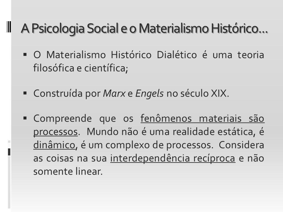 A Psicologia Social e o Materialismo Histórico... O Materialismo Histórico Dialético é uma teoria filosófica e científica; Construída por Marx e Engel
