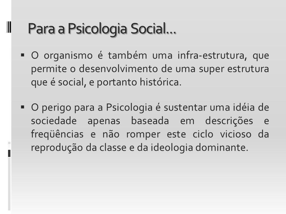 Para a Psicologia Social... O organismo é também uma infra-estrutura, que permite o desenvolvimento de uma super estrutura que é social, e portanto hi