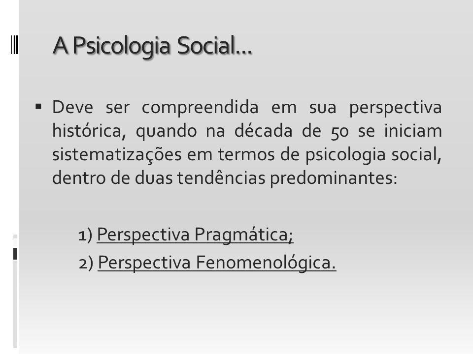A Psicologia Social... Deve ser compreendida em sua perspectiva histórica, quando na década de 50 se iniciam sistematizações em termos de psicologia s