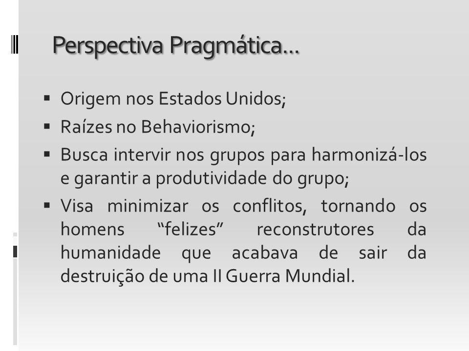 Perspectiva Pragmática... Origem nos Estados Unidos; Raízes no Behaviorismo; Busca intervir nos grupos para harmonizá-los e garantir a produtividade d