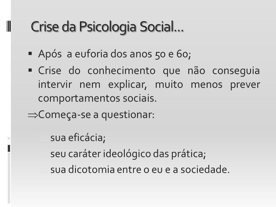 Crise da Psicologia Social... Após a euforia dos anos 50 e 60; Crise do conhecimento que não conseguia intervir nem explicar, muito menos prever compo