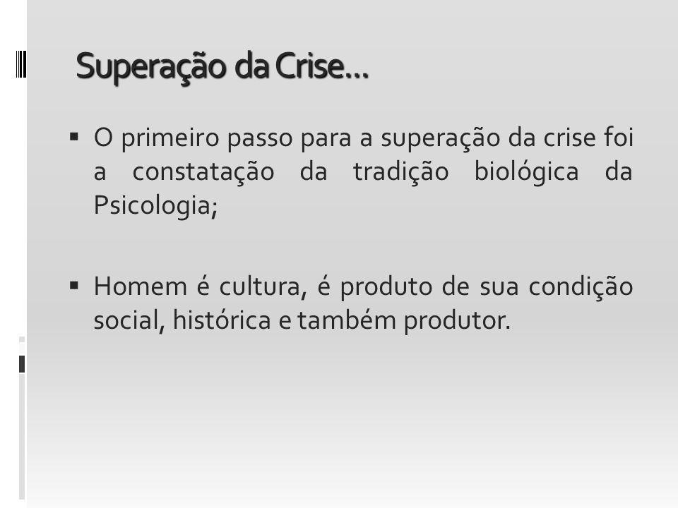 Superação da Crise... O primeiro passo para a superação da crise foi a constatação da tradição biológica da Psicologia; Homem é cultura, é produto de
