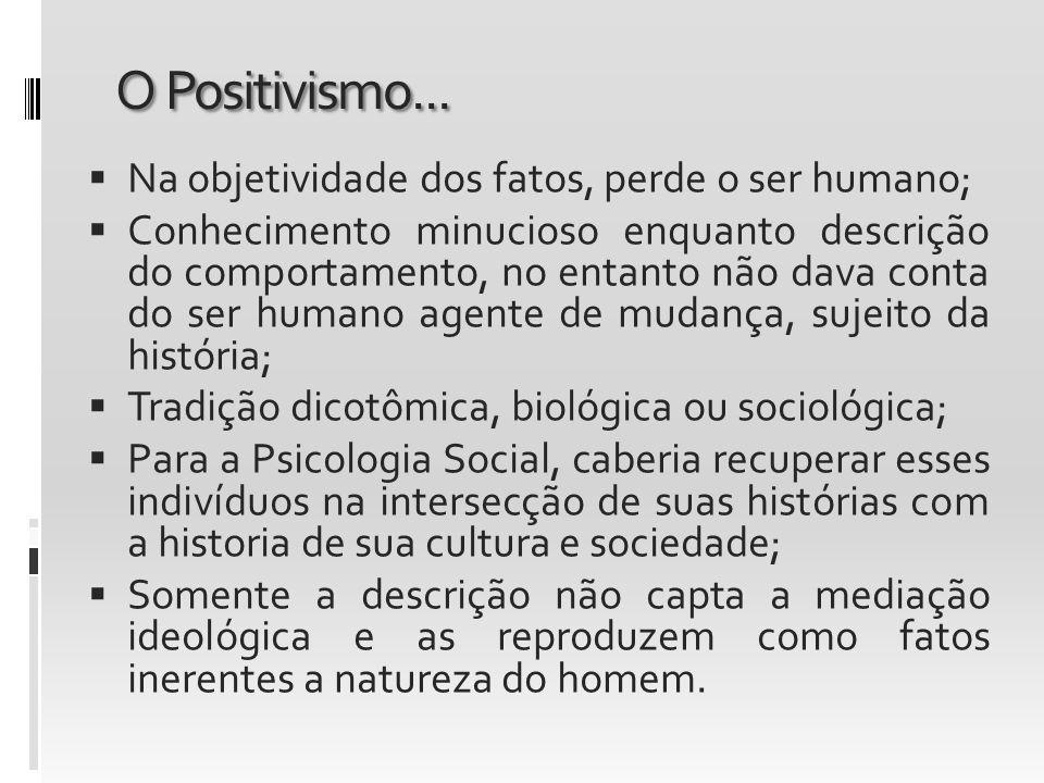 O Positivismo... Na objetividade dos fatos, perde o ser humano; Conhecimento minucioso enquanto descrição do comportamento, no entanto não dava conta