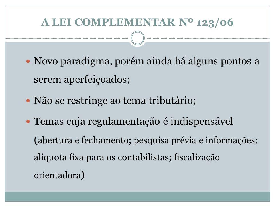A LEI COMPLEMENTAR Nº 123/06 Regime de Tributação Fiscalização Orientadora Uso do Poder de Compra Educação Empreendedora Acesso ao Crédito