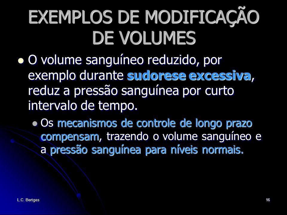 L.C. Bertges16 EXEMPLOS DE MODIFICAÇÃO DE VOLUMES O volume sanguíneo reduzido, por exemplo durante sudorese excessiva, reduz a pressão sanguínea por c