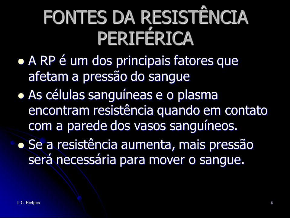 L.C. Bertges4 FONTES DA RESISTÊNCIA PERIFÉRICA A RP é um dos principais fatores que afetam a pressão do sangue A RP é um dos principais fatores que af