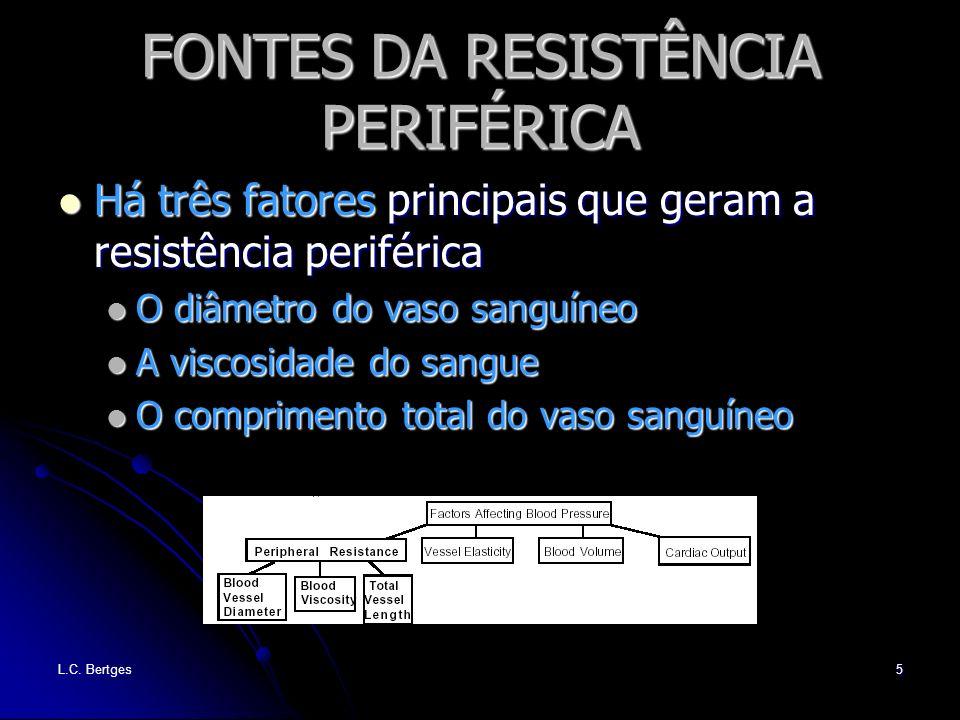 L.C. Bertges5 FONTES DA RESISTÊNCIA PERIFÉRICA Há três fatores principais que geram a resistência periférica Há três fatores principais que geram a re
