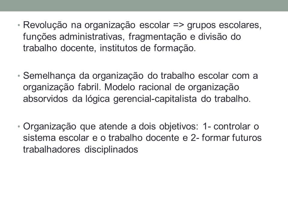 Revolução na organização escolar => grupos escolares, funções administrativas, fragmentação e divisão do trabalho docente, institutos de formação.