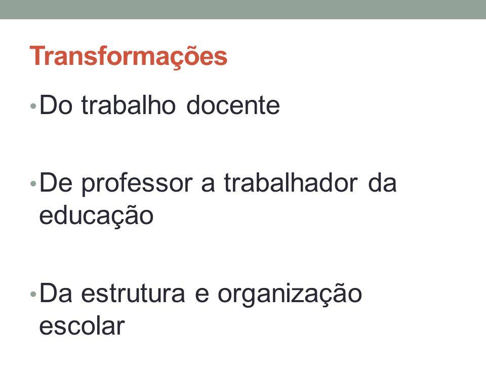 Transformações Do trabalho docente De professor a trabalhador da educação Da estrutura e organização escolar