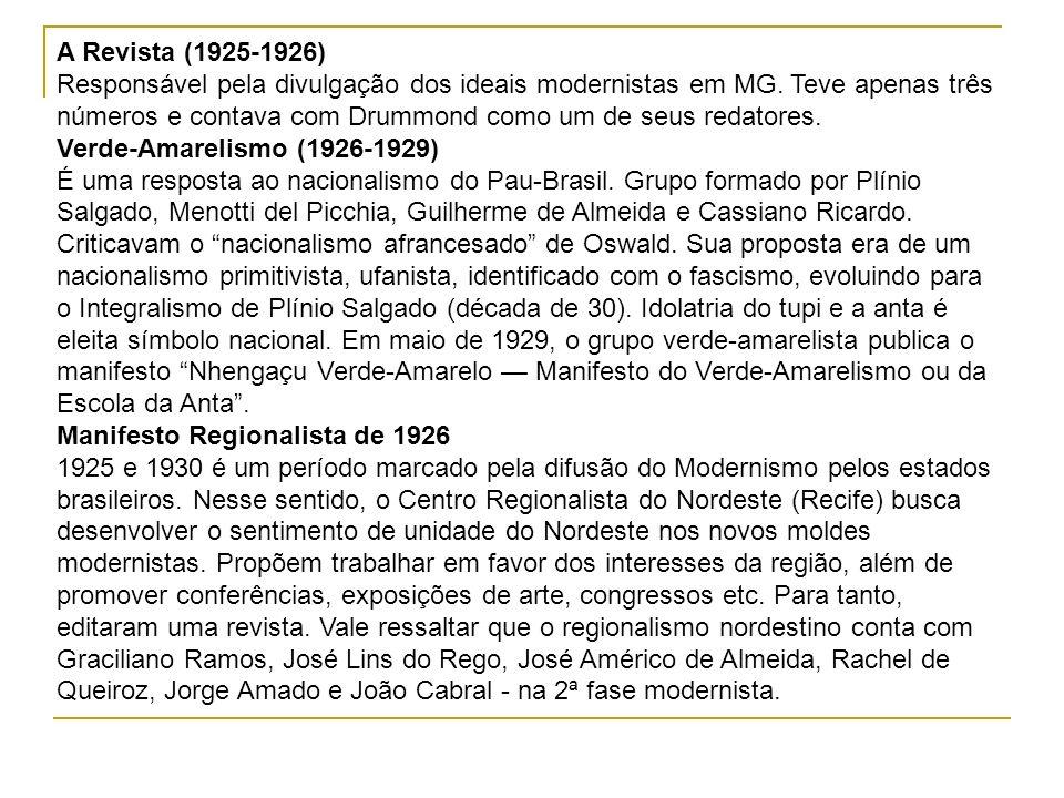 A Revista (1925-1926) Responsável pela divulgação dos ideais modernistas em MG. Teve apenas três números e contava com Drummond como um de seus redato