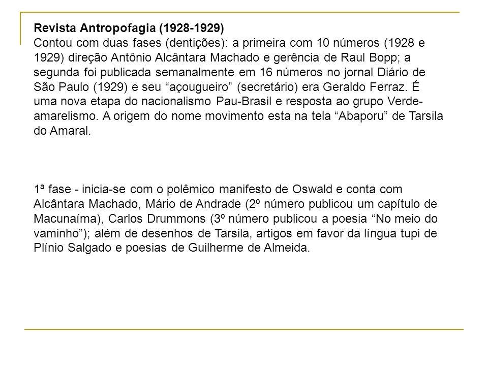 Revista Antropofagia (1928-1929) Contou com duas fases (dentições): a primeira com 10 números (1928 e 1929) direção Antônio Alcântara Machado e gerênc