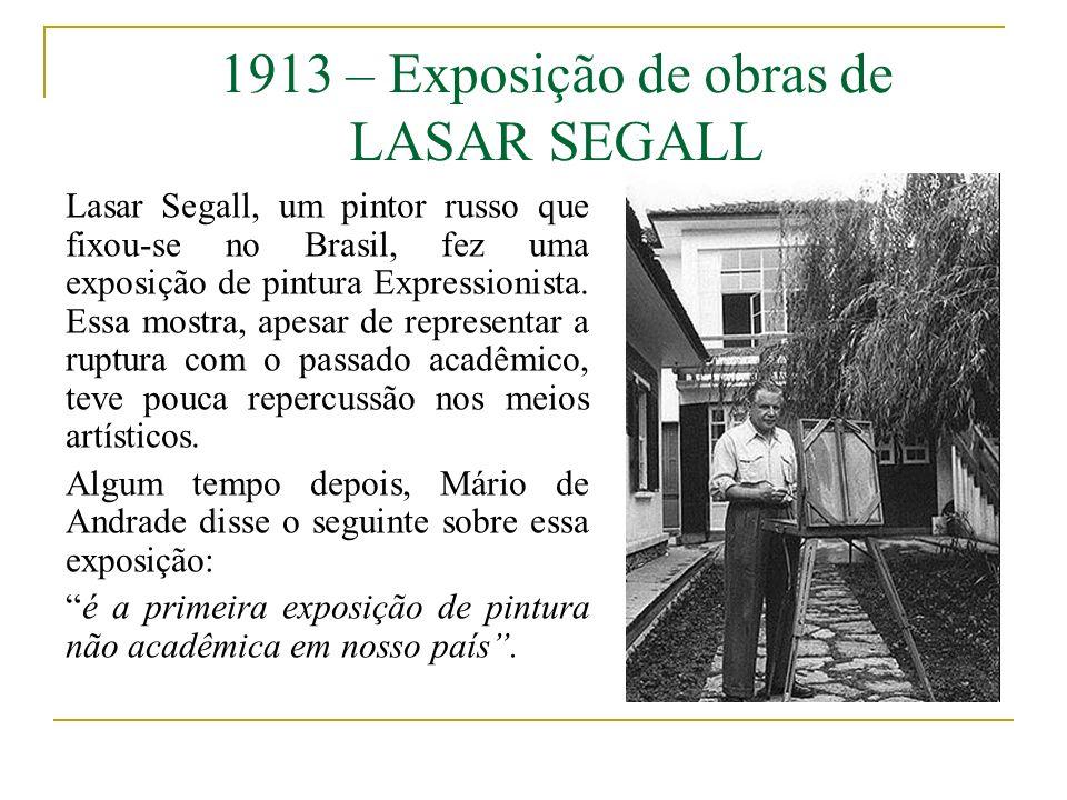 1913 – Exposição de obras de LASAR SEGALL Lasar Segall, um pintor russo que fixou-se no Brasil, fez uma exposição de pintura Expressionista. Essa most