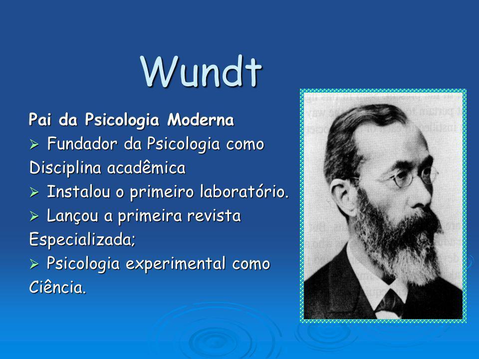 Wundt Pai da Psicologia Moderna Fundador da Psicologia como Fundador da Psicologia como Disciplina acadêmica Instalou o primeiro laboratório. Instalou