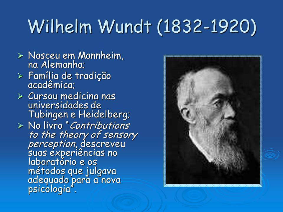 Wilhelm Wundt (1832-1920) Nasceu em Mannheim, na Alemanha; Nasceu em Mannheim, na Alemanha; Família de tradição acadêmica; Família de tradição acadêmi