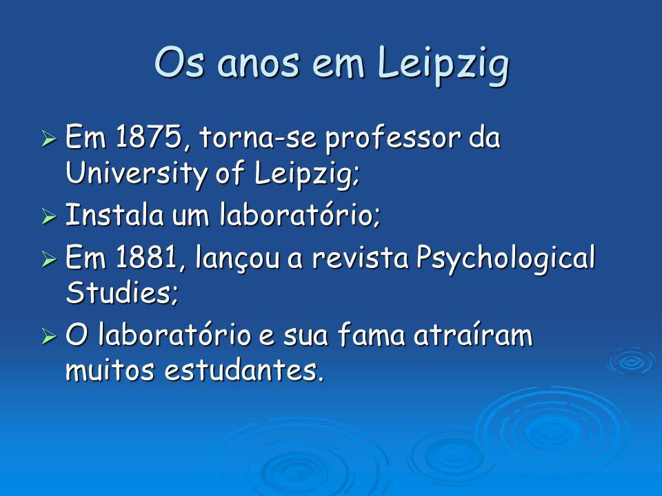 Os anos em Leipzig Em 1875, torna-se professor da University of Leipzig; Em 1875, torna-se professor da University of Leipzig; Instala um laboratório;
