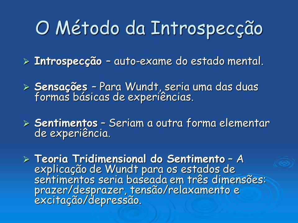 O Método da Introspecção Introspecção – auto-exame do estado mental. Introspecção – auto-exame do estado mental. Sensações – Para Wundt, seria uma das