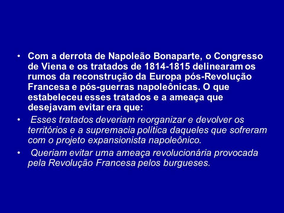 Com a derrota de Napoleão Bonaparte, o Congresso de Viena e os tratados de 1814-1815 delinearam os rumos da reconstrução da Europa pós-Revolução Franc