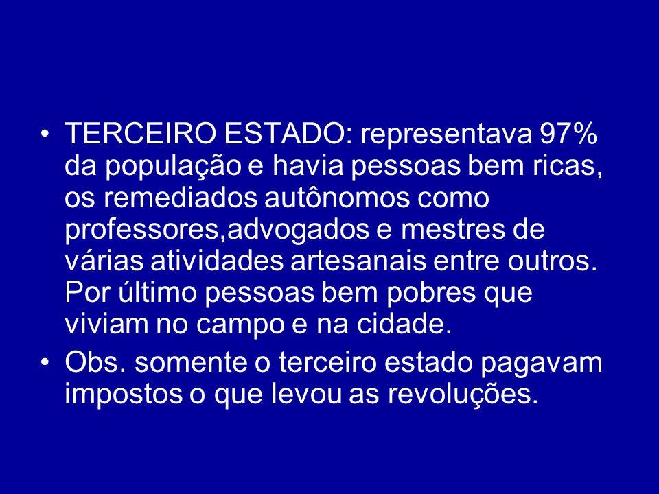 TERCEIRO ESTADO: representava 97% da população e havia pessoas bem ricas, os remediados autônomos como professores,advogados e mestres de várias ativi