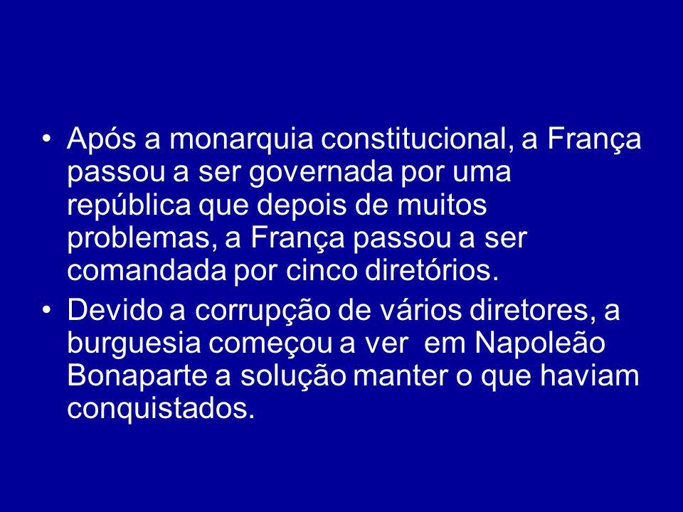Após a monarquia constitucional, a França passou a ser governada por uma república que depois de muitos problemas, a França passou a ser comandada por