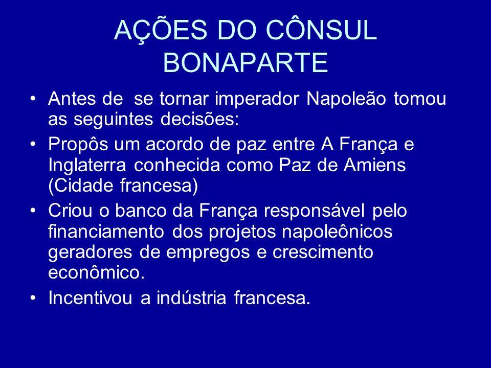 AÇÕES DO CÔNSUL BONAPARTE Antes de se tornar imperador Napoleão tomou as seguintes decisões: Propôs um acordo de paz entre A França e Inglaterra conhe