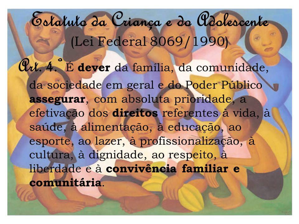 Estatuto da Criança e do Adolescente (Lei Federal 8069/1990) Art. 4.º É dever da família, da comunidade, da sociedade em geral e do Poder Público asse