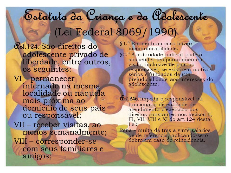 Estatuto da Criança e do Adolescente (Lei Federal 8069/1990) Art.124. São direitos do adolescente privado de liberdade, entre outros, os seguintes: VI