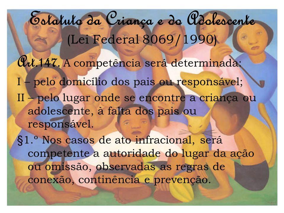Estatuto da Criança e do Adolescente (Lei Federal 8069/1990) Art.147. A competência será determinada: I – pelo domicílio dos pais ou responsável; II –