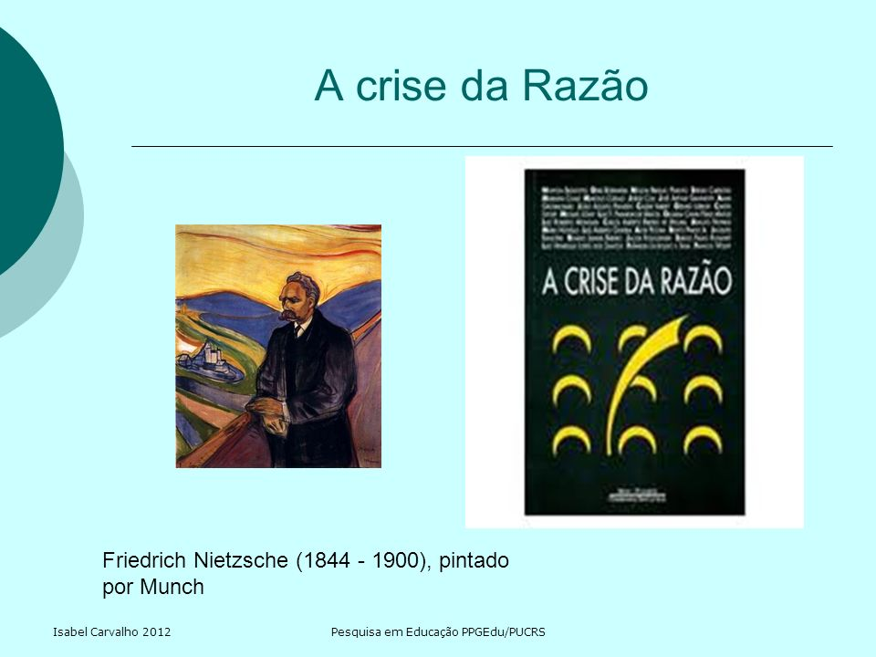 Isabel Carvalho 2012Pesquisa em Educação PPGEdu/PUCRS A crise da Razão Friedrich Nietzsche (1844 - 1900), pintado por Munch