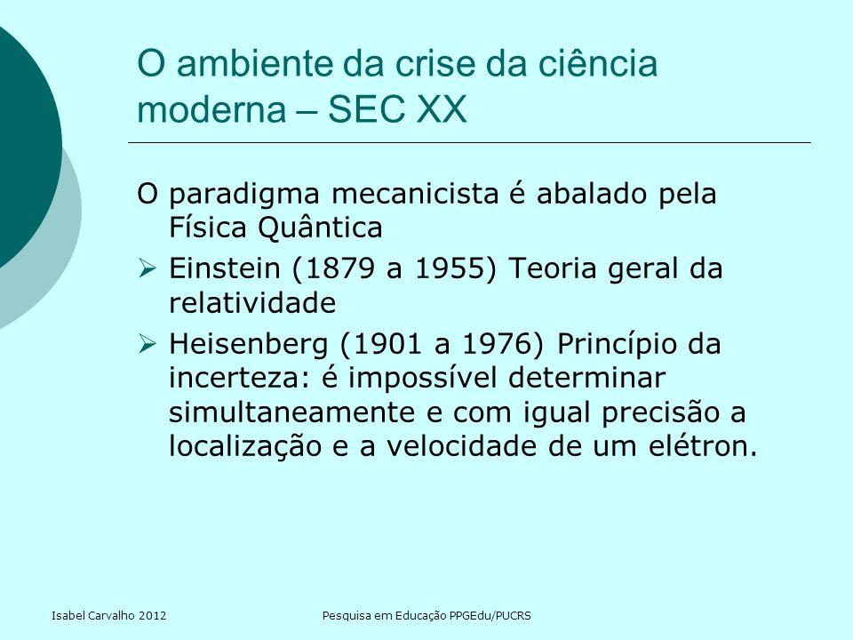 Isabel Carvalho 2012Pesquisa em Educação PPGEdu/PUCRS O ambiente da crise da ciência moderna – SEC XX O paradigma mecanicista é abalado pela Física Qu