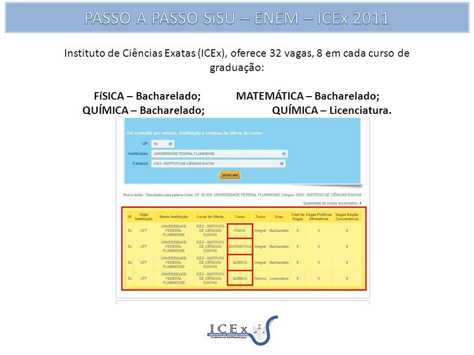 Instituto de Ciências Exatas (ICEx), oferece 32 vagas, 8 em cada curso de graduação: FíSICA – Bacharelado; MATEMÁTICA – Bacharelado; QUÍMICA – Bacharelado; QUÍMICA – Licenciatura.