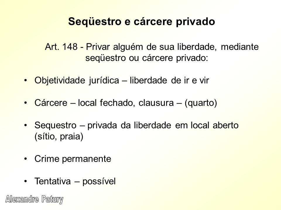 Seqüestro e cárcere privado Art. 148 - Privar alguém de sua liberdade, mediante seqüestro ou cárcere privado: Objetividade jurídica – liberdade de ir