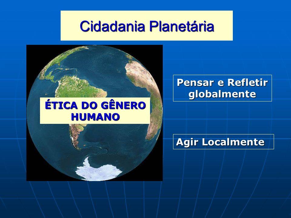 Cidadania Planetária Pensar e Refletir globalmente Agir Localmente ÉTICA DO GÊNERO HUMANO