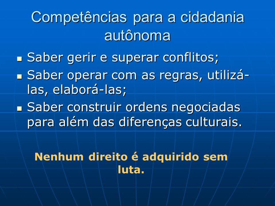 Competências para a cidadania autônoma Saber gerir e superar conflitos; Saber gerir e superar conflitos; Saber operar com as regras, utilizá- las, ela